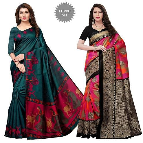 Charming Printed Art Silk-Mysore Silk Saree - Pack of 2