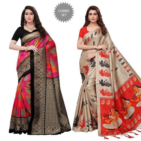 Classy Festive Wear Printed Art Silk-Khadi Silk Saree - Pack of 2