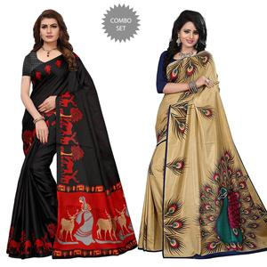 Delightful Casual Wear Printed Khadi Silk-Art Silk Saree - Pack of 2