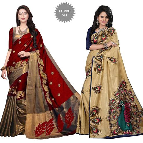 Engrossing Printed Cotton-Art Silk Saree - Pack of 2