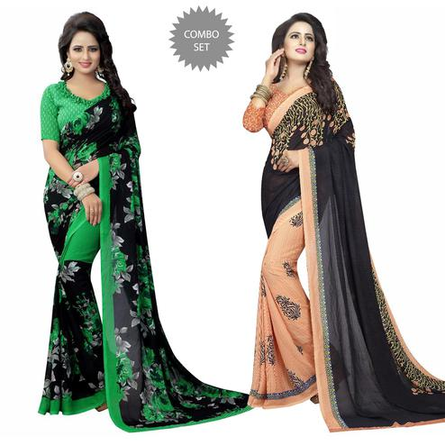 Entrancing Casual Wear Printed Georgette Saree - Pack of 2