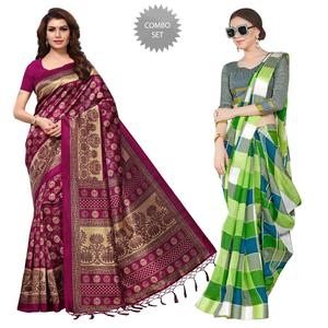 Exotic Casual Printed Mysore Art Silk-Bhagalpuri Silk Saree - Pack of 2