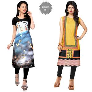 Adorable Casual Printed Crepe Kurti - Pack of 2