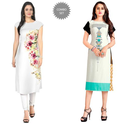 Charming Casual Printed Crepe-Rayon Kurti - Pack of 2