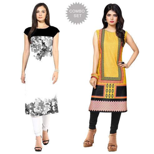 Engrossing Casual Printed Crepe Kurti - Pack of 2