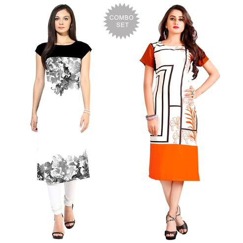 Fantastic Casual Printed Crepe-Rayon Kurti - Pack of 2