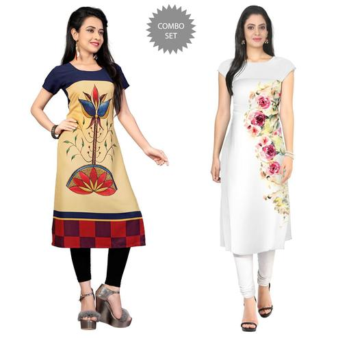 Amazing Casual Printed Crepe Kurti - Pack of 2