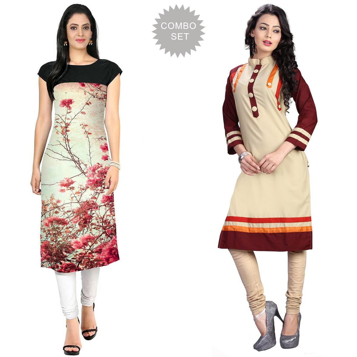 Majesty Casual Printed Crepe-Cotton Kurti - Pack of 2