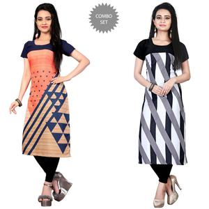 Impressive Casual Printed Crepe Kurti - Pack of 2