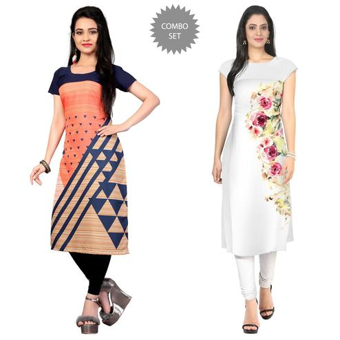Mesmerising Casual Printed Crepe Kurti - Pack of 2