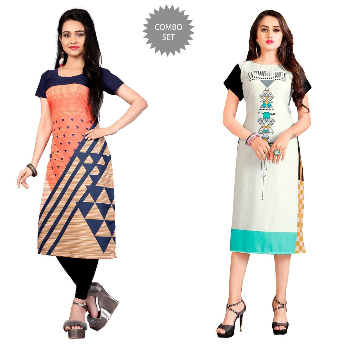 Ravishing Casual Printed Crepe Kurti - Pack of 2