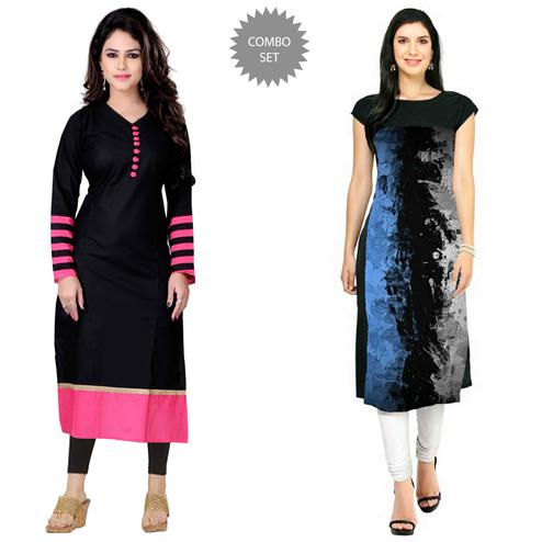Flattering Casual Printed Cotton-Crepe Kurti - Pack of 2