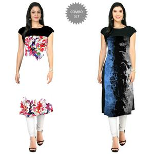 Excellent Casual Printed Crepe Kurti - Pack of 2
