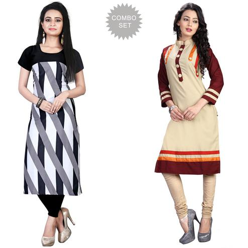 Flamboyant Casual Printed Crepe-Cotton Kurti - Pack of 2