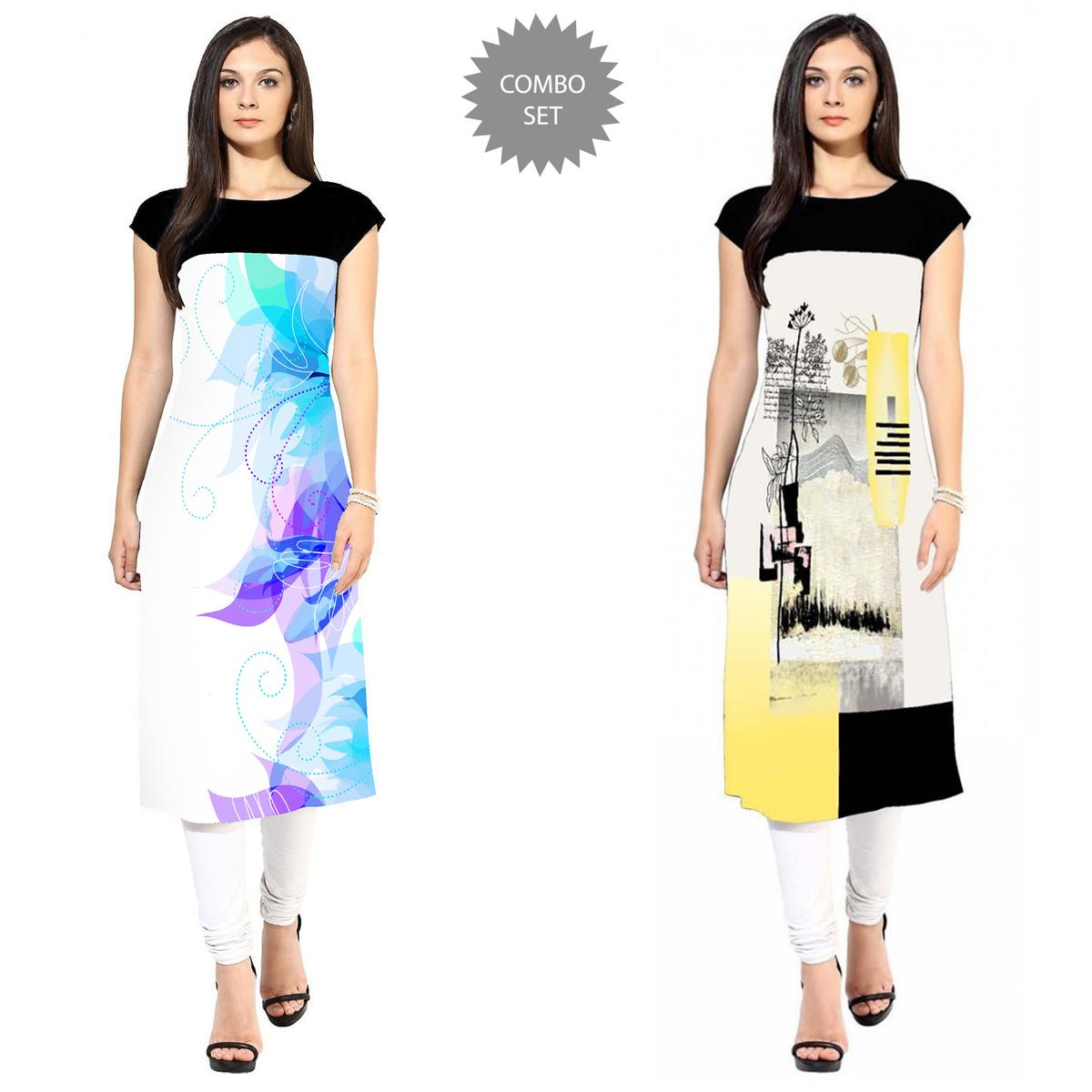 Alluring Casual Printed Crepe Kurti - Pack of 2