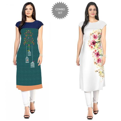 Sensational Casual Printed Crepe Kurti - Pack of 2