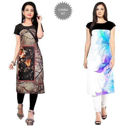 Attractive Casual Printed Crepe Kurti - Pack of 2