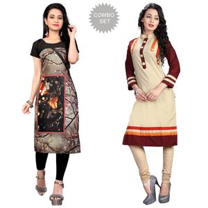 Beautiful Casual Printed Crepe-Cotton Kurti - Pack of 2