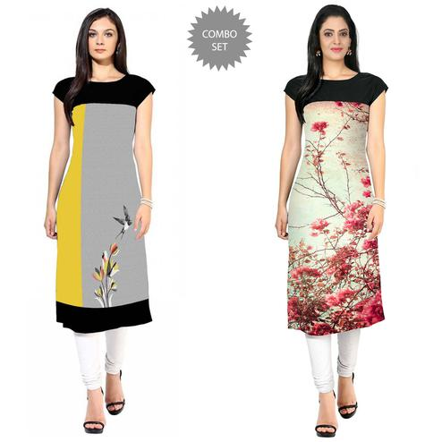 Adorning Casual Printed Crepe Kurti - Pack of 2