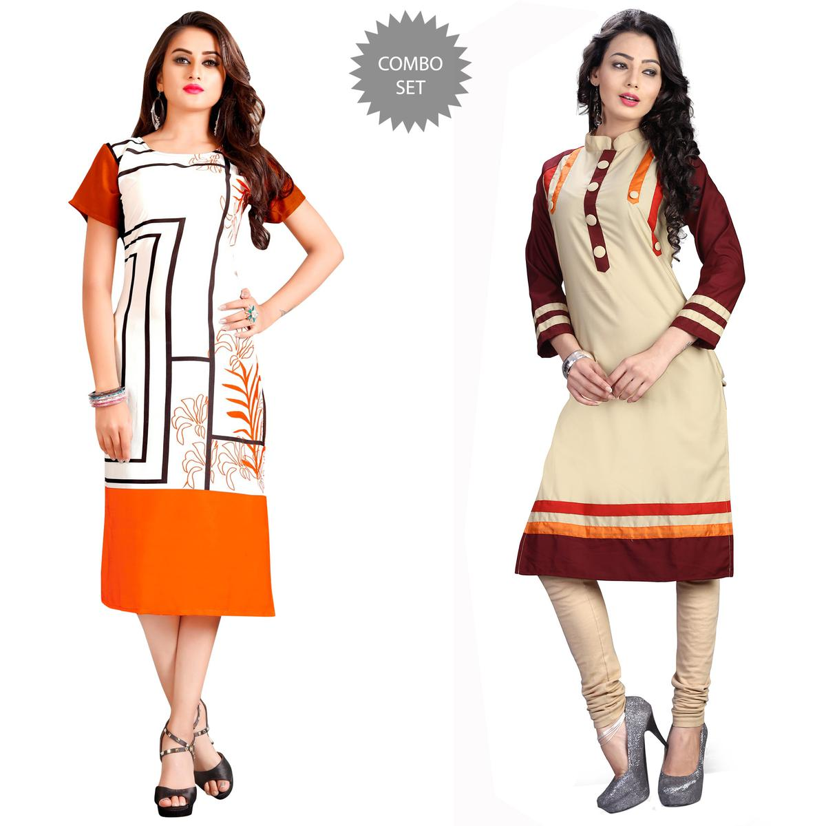 Appealing Casual Printed Rayon-Cotton Kurti - Pack of 2
