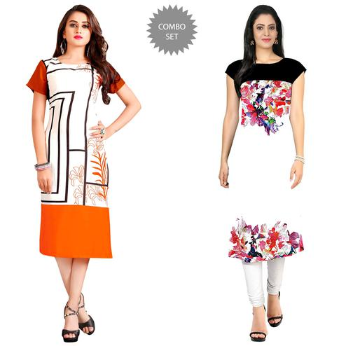 Entrancing Casual Printed Rayon-Crepe Kurti - Pack of 2