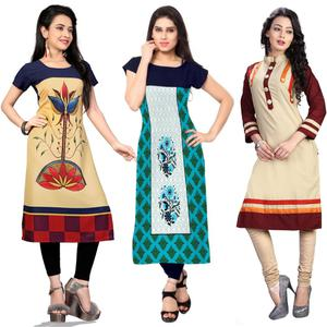 Impressive Casual Printed Crepe-Cotton Kurti - Pack of 3