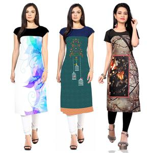 Pleasance Casual Printed Crepe Kurti - Pack of 3