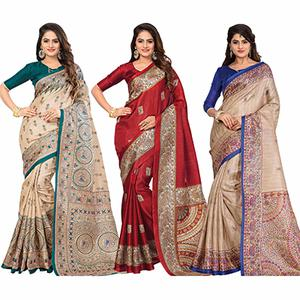 Lovely Casual Printed Bhagalpuri Silk Saree (Pack of 3)