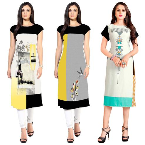 Ethnic Casual Printed Crepe-Rayon Kurti - Pack of 3