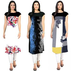 Ravishing Casual Printed Crepe Kurti - Pack of 3