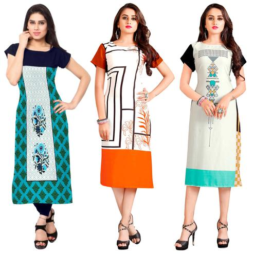 Staring Casual Printed Crepe-Rayon Kurti - Pack of 3