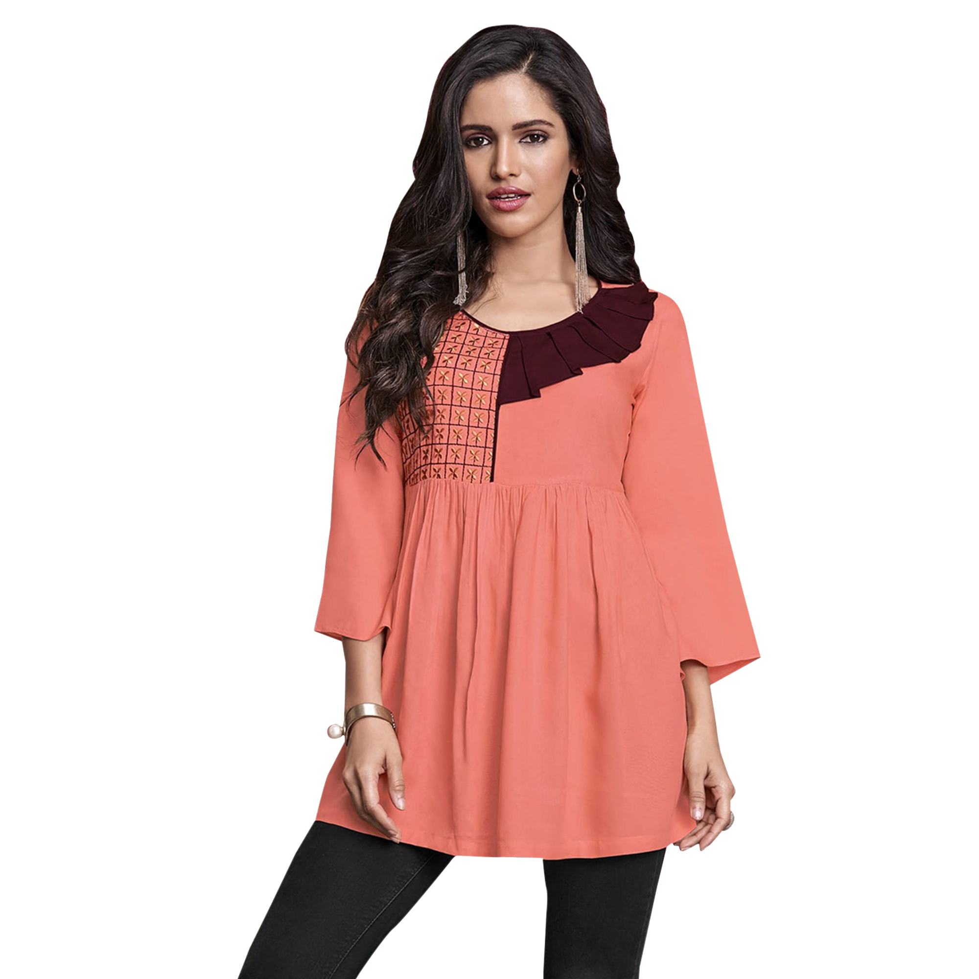 Classy Partywear Embroidered Rayon Western Top - Pack of 2