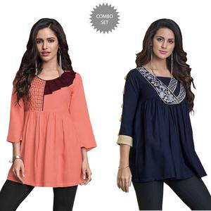 Demanding Partywear Embroidered Rayon Western Top - Pack of 2