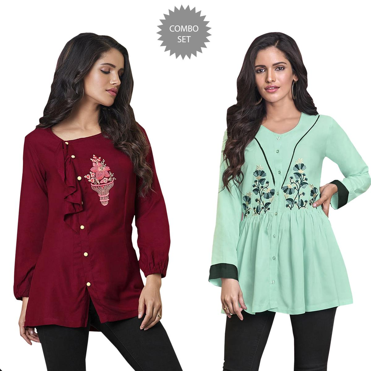 26aa922d0abc6 Buy Superb Partywear Embroidered Rayon Western Top - Pack of 2 for womens  online India