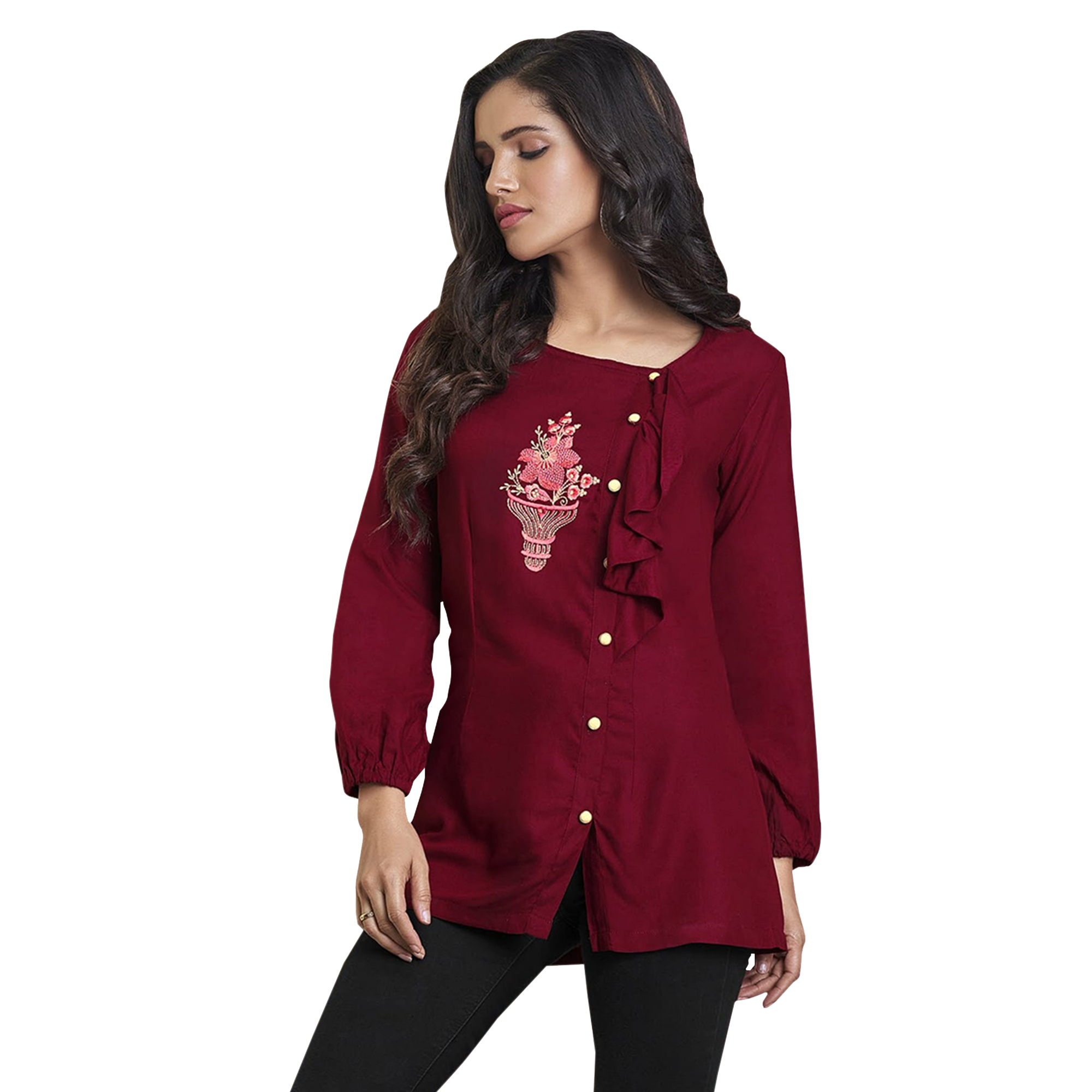 164e98560cb87 Buy Superb Partywear Embroidered Rayon Western Top - Pack of 2 for ...
