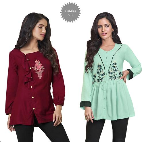 Superb Partywear Embroidered Rayon Western Top - Pack of 2
