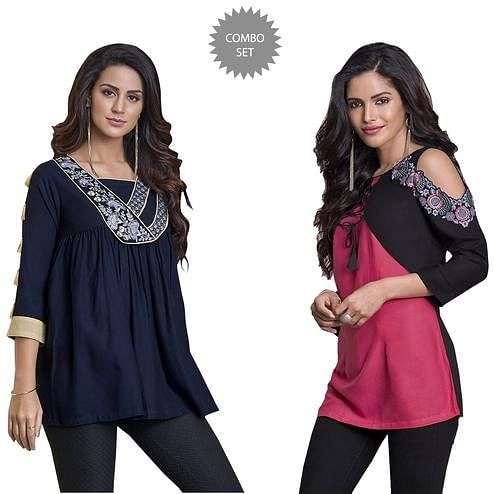 Trendy Partywear Embroidered Rayon Western Top - Pack of 2