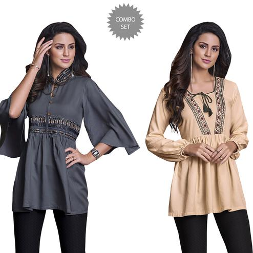 Desirable Partywear Embroidered Rayon Western Top - Pack of 2