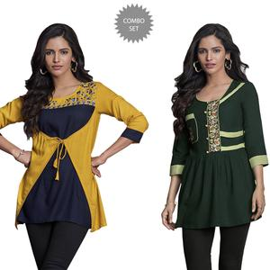 Amazing Partywear Embroidered Rayon Western Top - Pack of 2