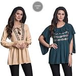 Opulent Partywear Embroidered Rayon Western Top - Pack of 2