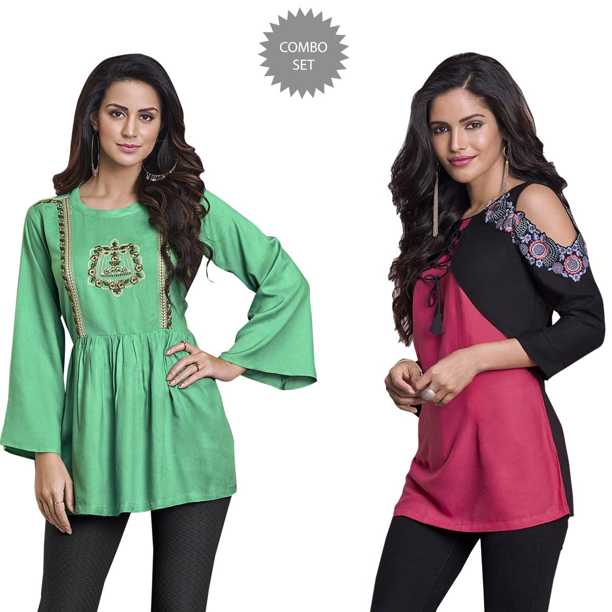 Alluring Partywear Embroidered Rayon Western Top - Pack of 2