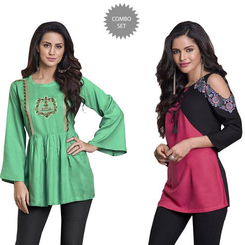 7297c51ec8659 Buy Mesmeric Colored Partywear Printed Cotton Kurti - Pack of 2 for ...