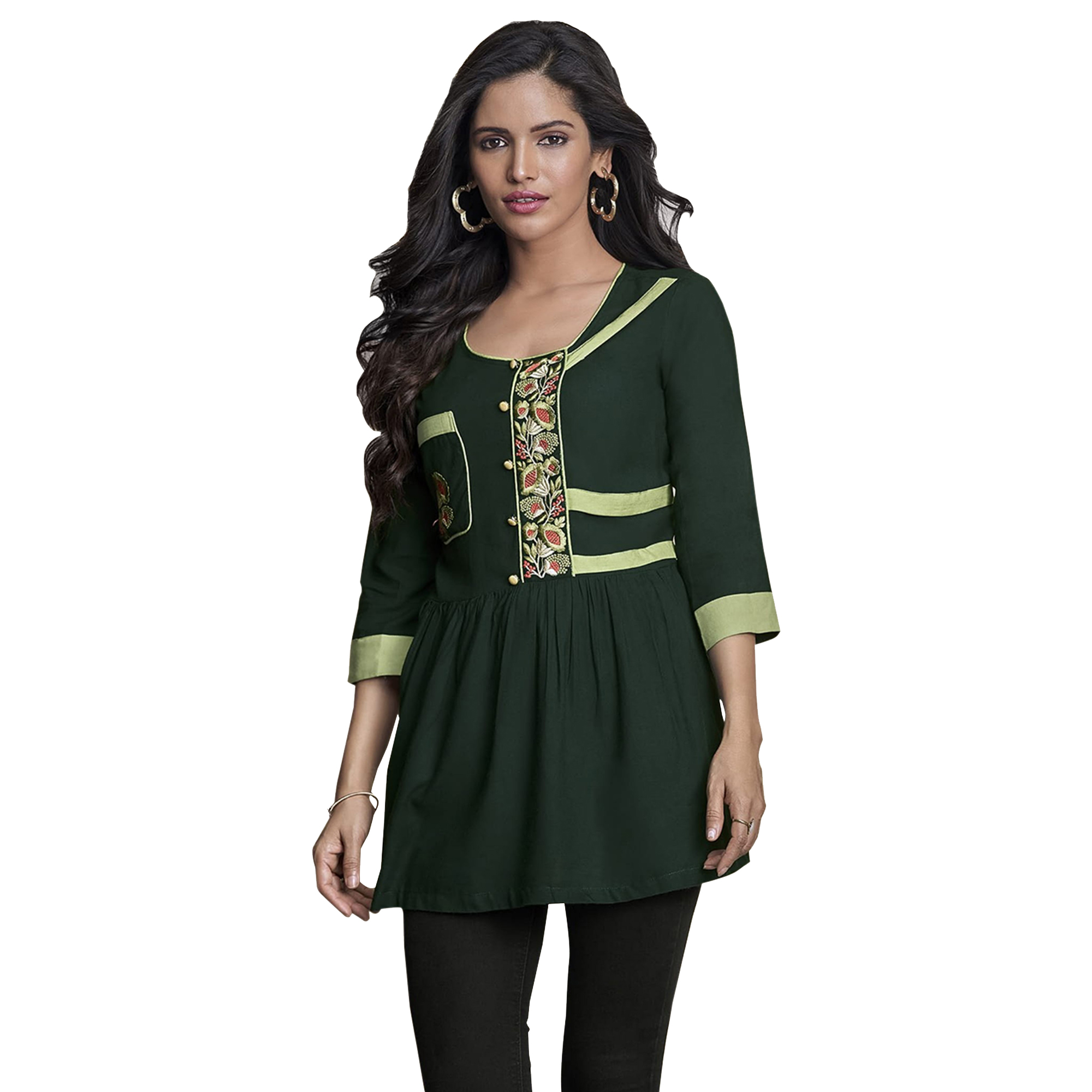 Beautiful Partywear Embroidered Rayon Western Top - Pack of 2