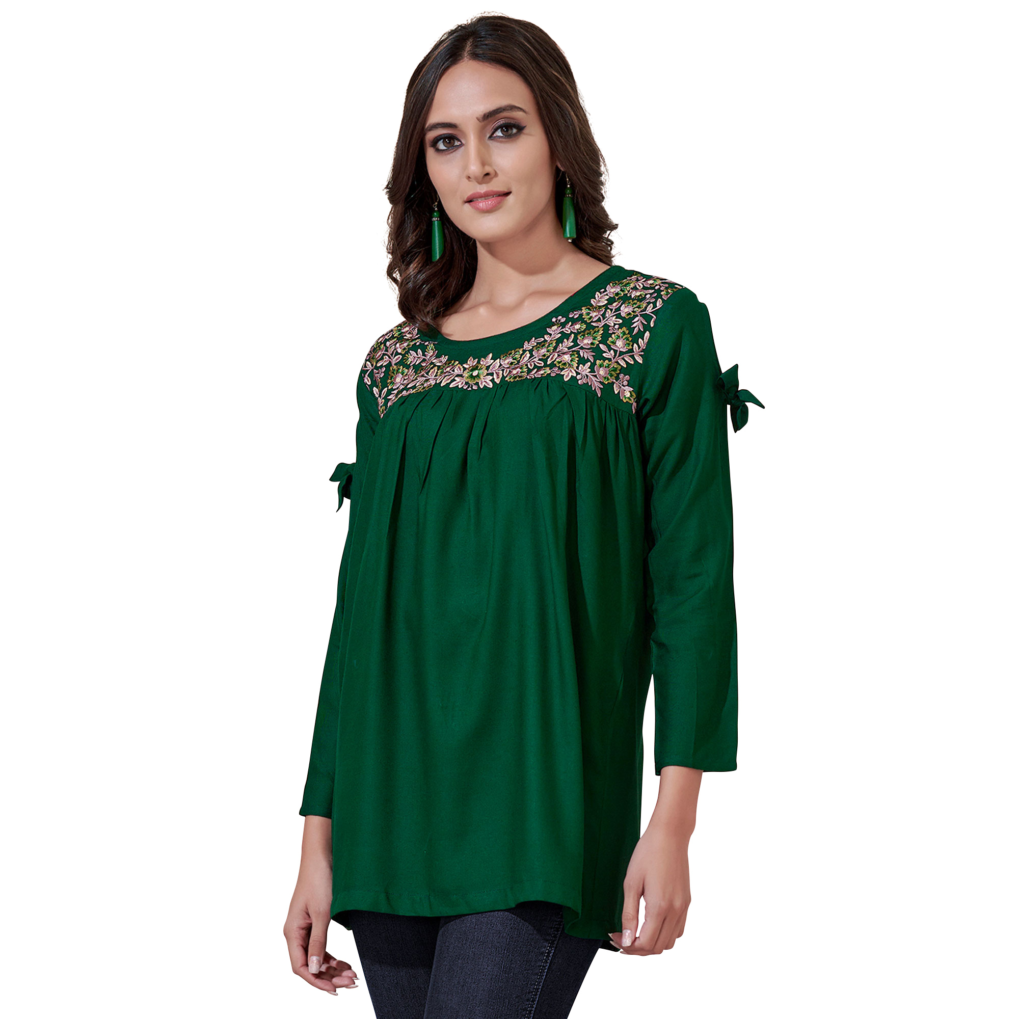 Adorning Partywear Embroidered Rayon Western Top - Pack of 2