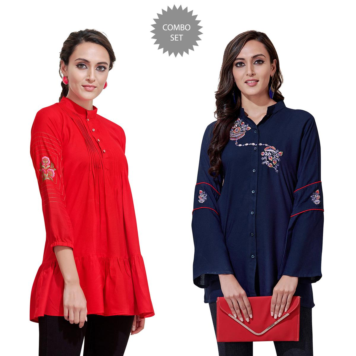 Appealing Partywear Embroidered Rayon Western Top - Pack of 2