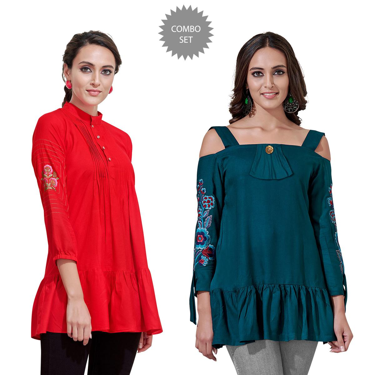 Capricious Partywear Embroidered Rayon Western Top - Pack of 2