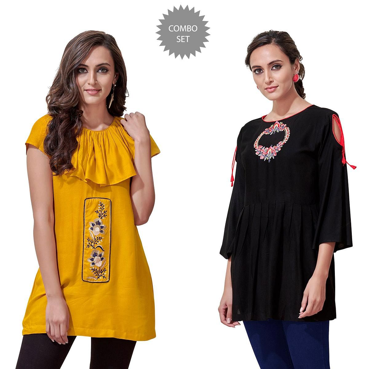 Entrancing Partywear Embroidered Rayon Western Top - Pack of 2
