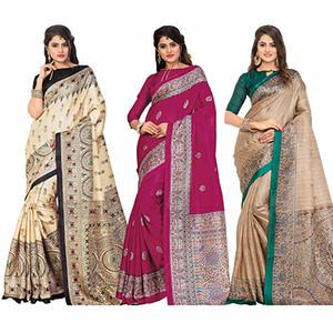 Trendy Casual Printed Bhagalpuri Silk Saree (Pack of 3)