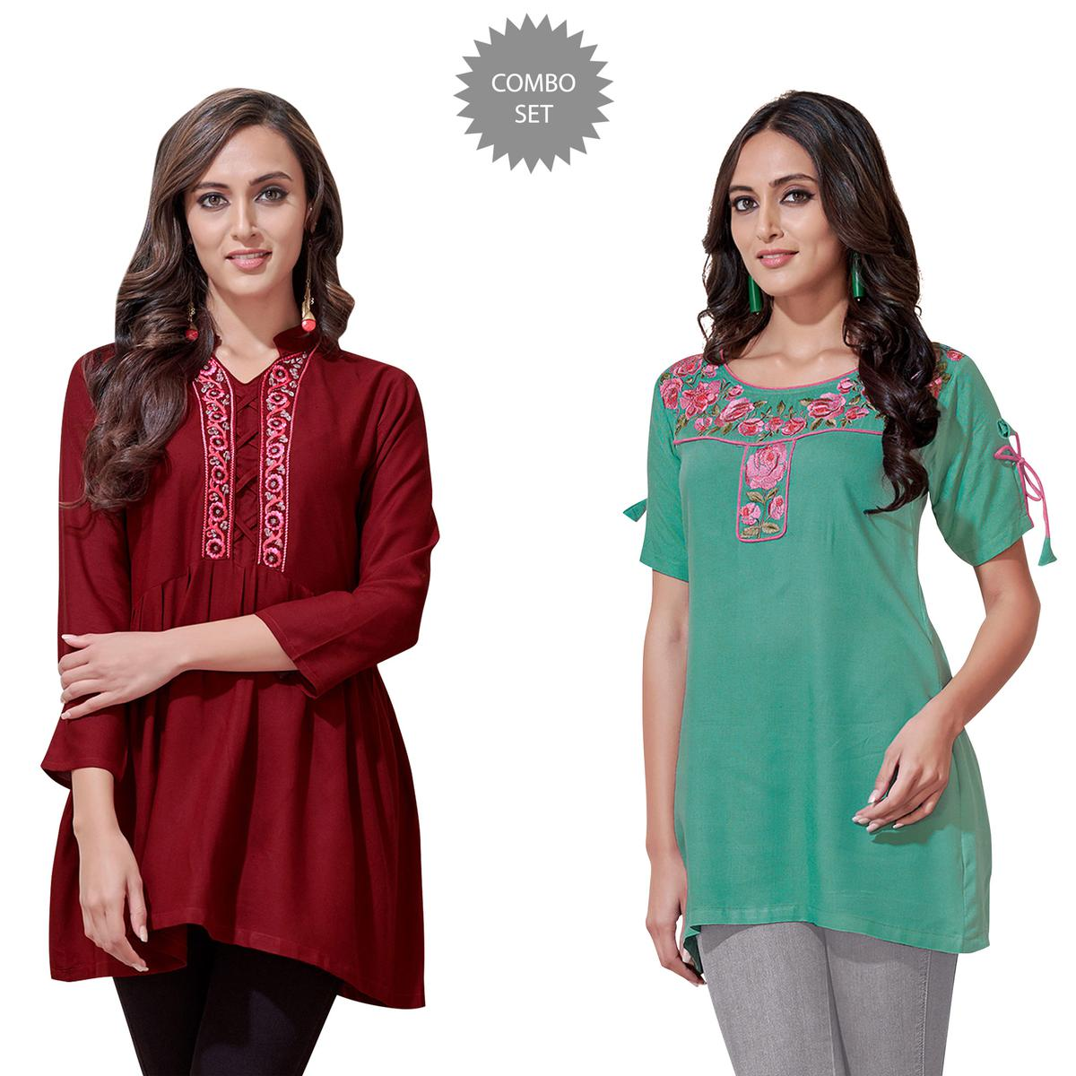 Prominent Partywear Embroidered Rayon Western Top - Pack of 2