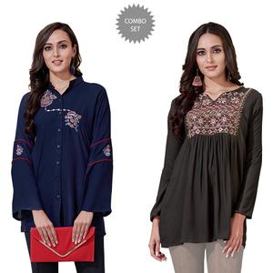 Exotic Partywear Embroidered Rayon Western Top - Pack of 2